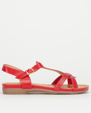 Utopia Snake T Bar Sandal Red