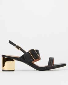 Utopia Buckle Double Strap Heels Black Gold