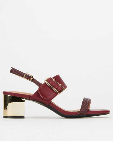 Utopia Buckle Double Strap Heels Burgandy Gold