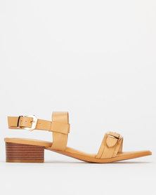 Utopia Western Buckle Low Block Heels Tan