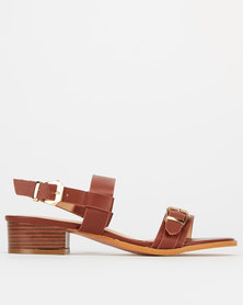 Utopia Western Buckle Low Block Heels Brown