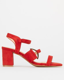 Utopia Side Buckle High Block Heels Orange