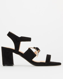 Utopia Side Buckle High Block Heels Black