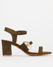 Utopia Side Buckle High Block Heels Burnt Olive