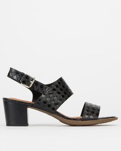 Utopia Double Strap Block Heels Black Croc