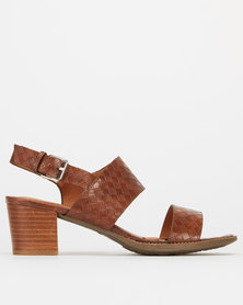 Utopia Double Strap Block Heels Brown Croc