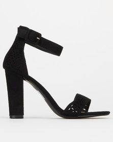 Utopia Laser Cut Block Heels Black