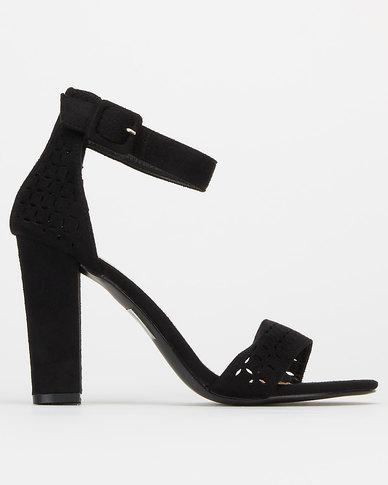 Utopia Laser Cut Block Heels Black