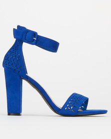 Utopia Laser Cut Block Heels Blue