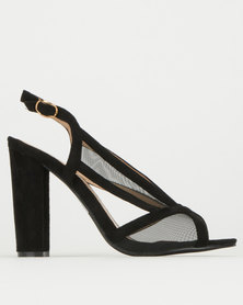 Utopia Black Mesh Gladiator Heel