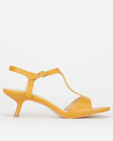 Utopia T-bar Snake Kitten Heels Yellow