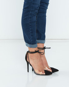 Utopia Tie Up Stilettos Black