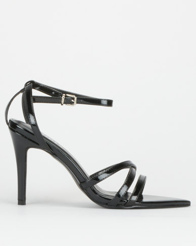 Utopia Strappy Pointy Toe Stilettos Black