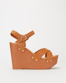 Utopia High Wood Wedge Tan