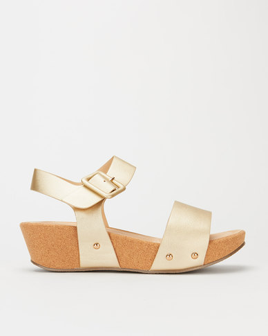 Utopia Square Buckle Black Cork Flatform Gold