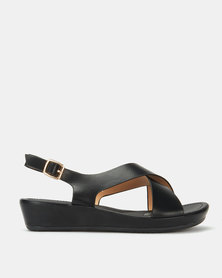 Utopia Crossover Slingback Mid Wedges Black