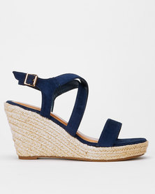 Utopia Cross Ankle Strap Espadrille Wedge Blue