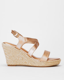 Utopia Cross Ankle Strap Espadrille Wedge Rose Gold