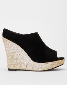 Utopia High Espadrille Slip On Wedges Black