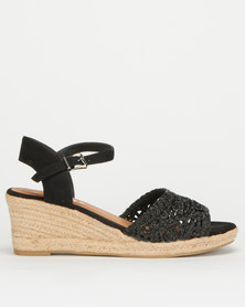 Utopia Crochet Espadrille Wedge Black