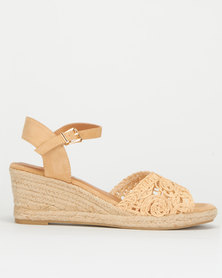 Utopia Crochet Espadrille Wedge Beige