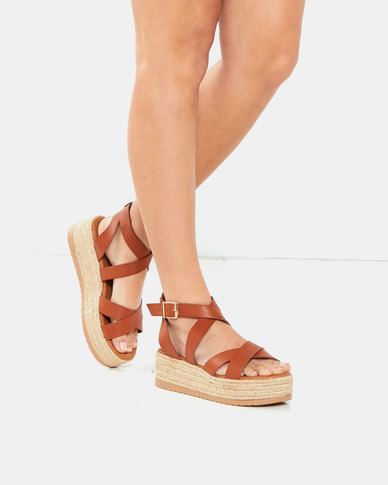 Utopia Gladiator Flatform Tan