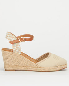 Utopia Knitted Closed Toe Espadrille Wedge Nude