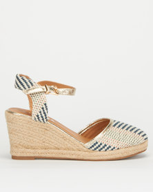 Utopia Knitted Striped Close Toe Wedge Blue