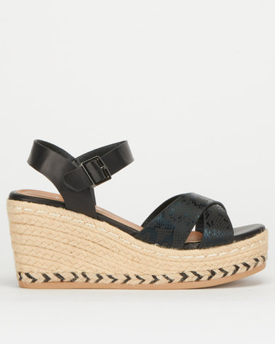 Utopia Cross Vamp High Wedge Black