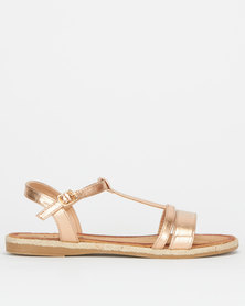 Utopia Ankle Strap Sandals Rose Gold