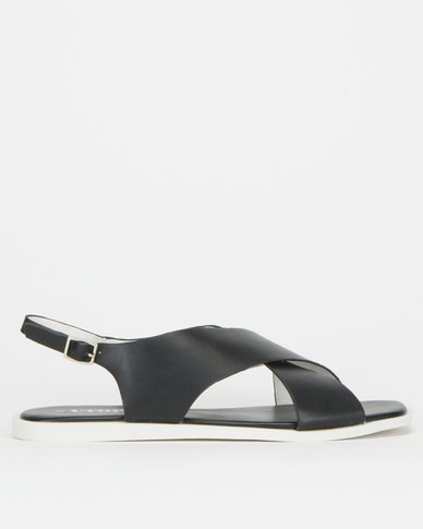 Utopia Broad Crossover Slingback Sandals Black