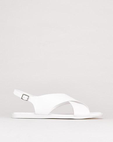 Utopia Broad Crossover Slingback Sandals White