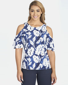 Contempo Slinky Paste Print Top Blue