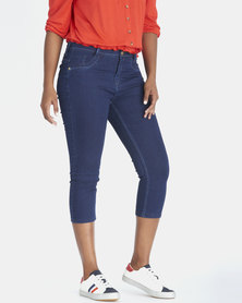 Contempo Denim Capri  Indigo
