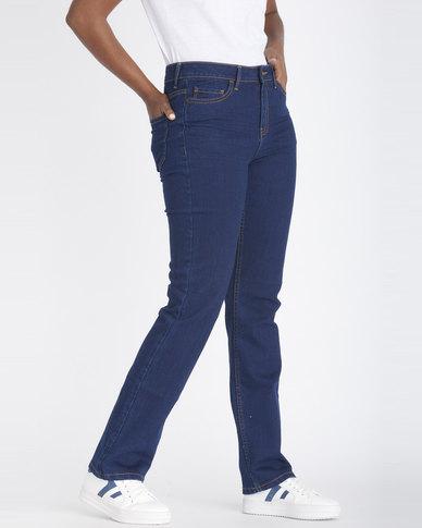 Contempo Straight Mid Rise Denim Jeans Indigo