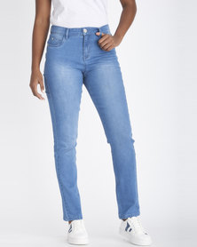 Contempo Gaby Slim Mid Rise Denim Jeans Blue