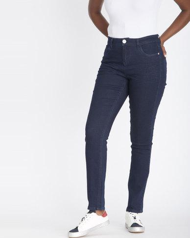 Contempo Skinny Mid Rise Denim Jeans Indigo