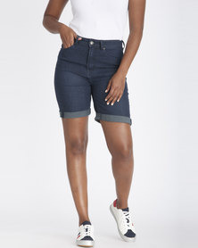Contempo High Rise Bermuda Shorts Indigo