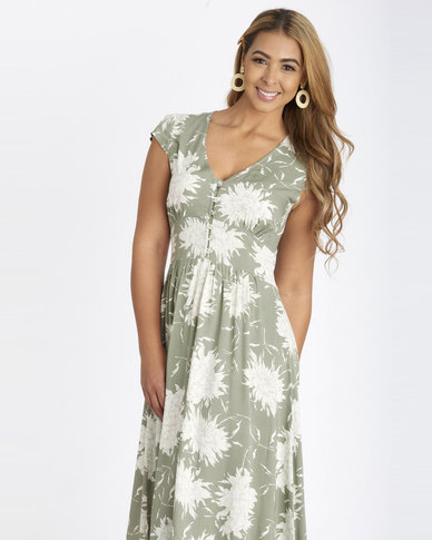 Contempo Floral Printed Dress Sage Green