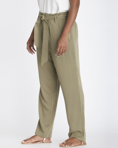 Contempo Belted Soft Pants Khaki