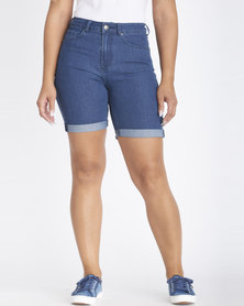Contempo High Rise Bermuda Shorts Blue