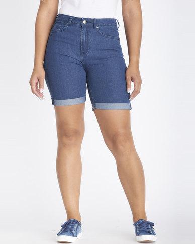 Contempo High Rise Bermuda Shorts Blue
