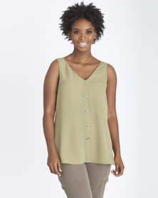 Contempo V-Neck  Button Cami Khaki