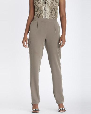Contempo Cargo Pants With Pockets Khaki