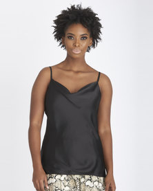 Contempo Strappy Bias Cut Satin Cami Black