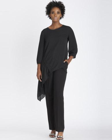 Contempo Drawstring Asymmetrical Top Black