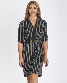 Contempo Stripe Shirt Dress Gold Ring Tie Black Multi