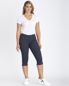 Contempo 5 Pocket Twill Capri Navy