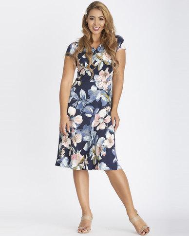 Contempo Flare Printed Dress Multi