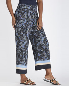 Contempo Satin Paisley Pants Navy